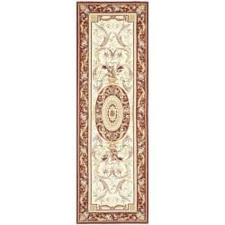Safavieh Hand-hooked Aubusson Ivory/ Burgundy Wool Rug (2'6 x 8')