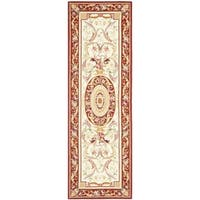 "Safavieh Hand-hooked Aubusson Ivory/ Burgundy Wool Rug - 2'6"" x 8'"