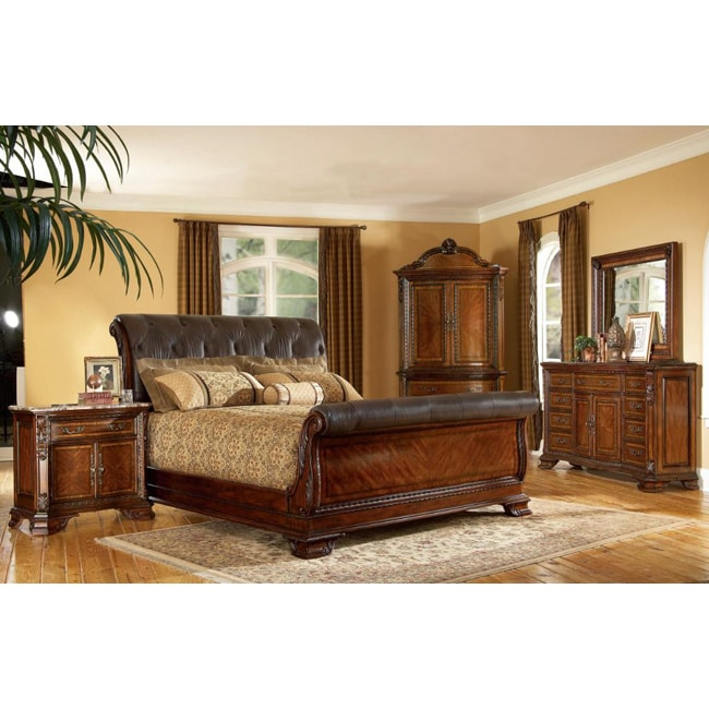A R T Furniture Old World Leather King Size Sleigh 5 Piece Bedroom Set