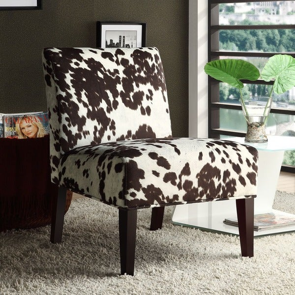 Peterson Cowhide Fabric Slipper Accent Chair by iNSPIRE Q Bold - Free Shipping Today - Overstock ...