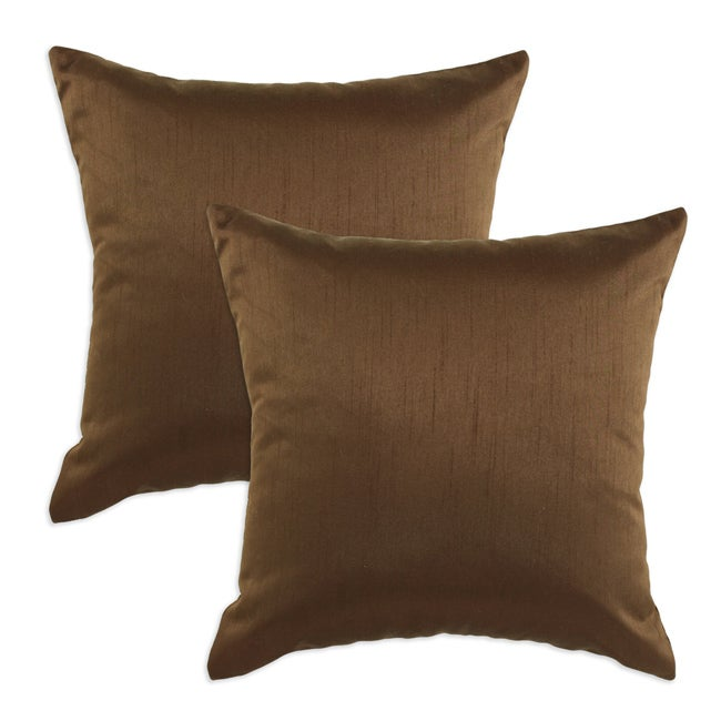 Shantung Walnut S-backed 17x17 Fiber Pillows (Set of 2)