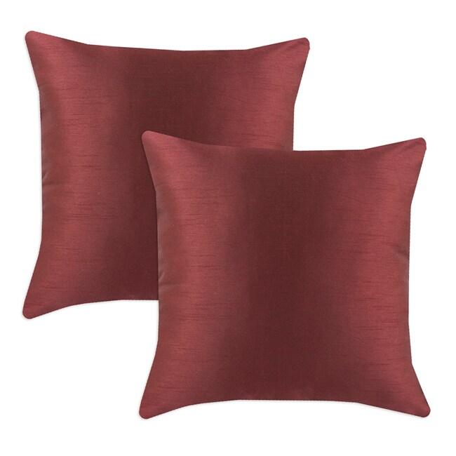 Shantung Vin Burgundy S-backed 17x17 Fiber Pillows (Set of 2)