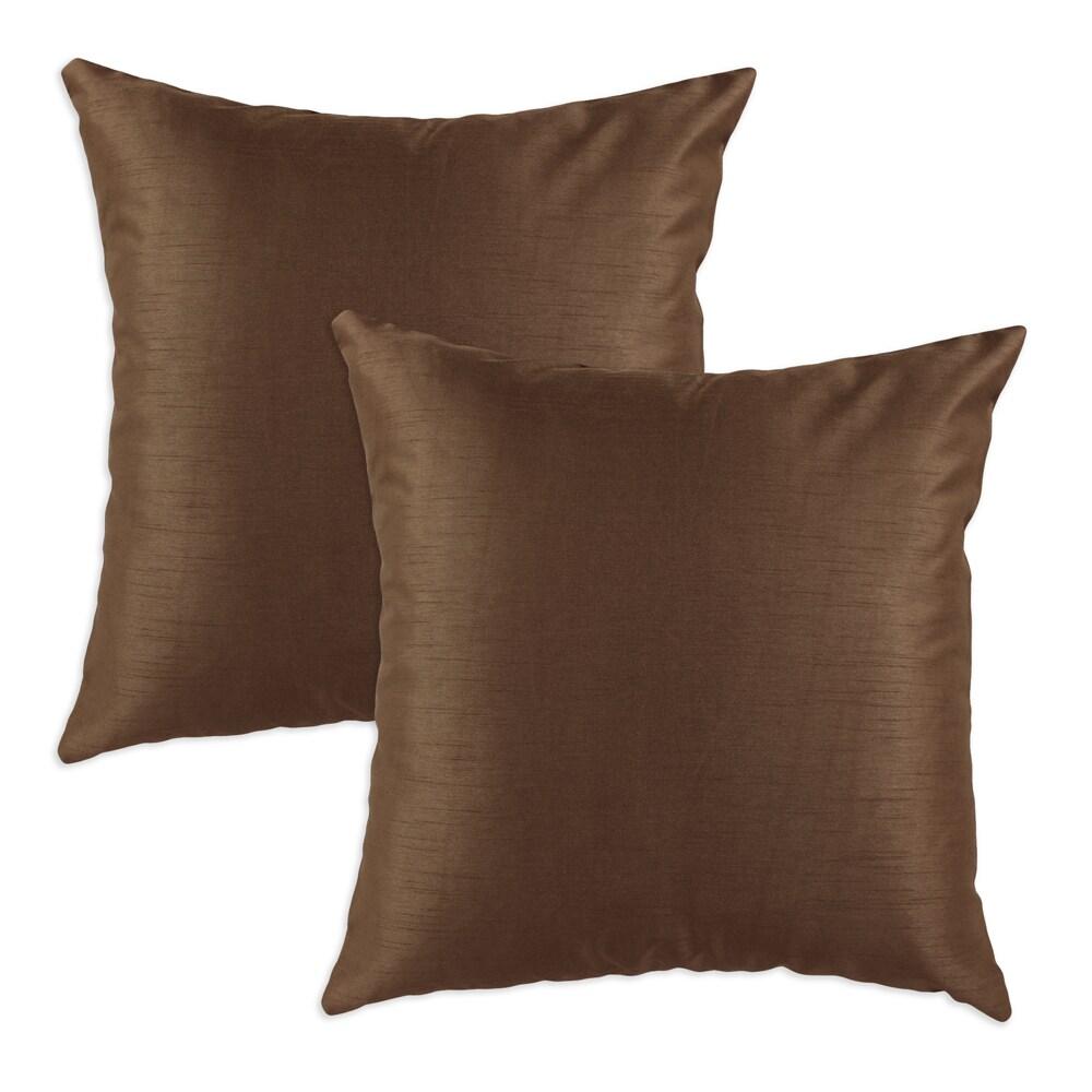 Shantung Espresso S-backed 17x17 Fiber Pillows (Set of 2)