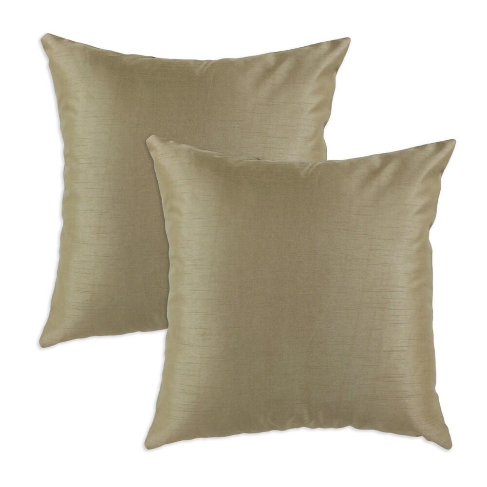 Shantung Cappuccino S-backed 17x17 Fiber Pillows (Set of 2)