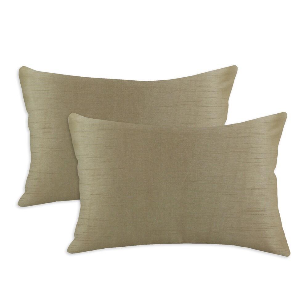 Shantung Cappuccino S-backed 12.5x19 Fiber Pillows (Set of 2)