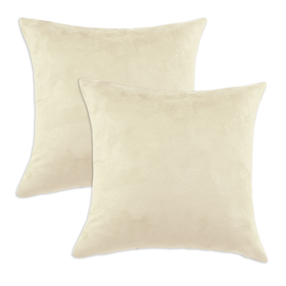 Passion Suede Oyster Cream Simply Soft S-backed 17x17 Fiber Pillows (Set of 2)