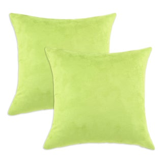 Passion Suede Lime Simply Soft S-backed 17x17 Fiber Pillows (Set of 2)