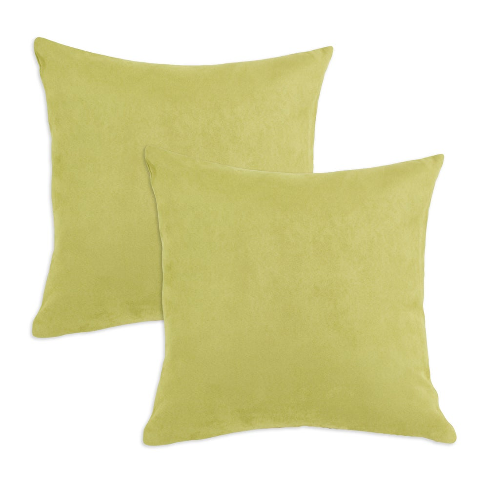 Passion Suede Celery Green Simply Soft S-backed 17x17 Fiber Pillows (Set of 2)