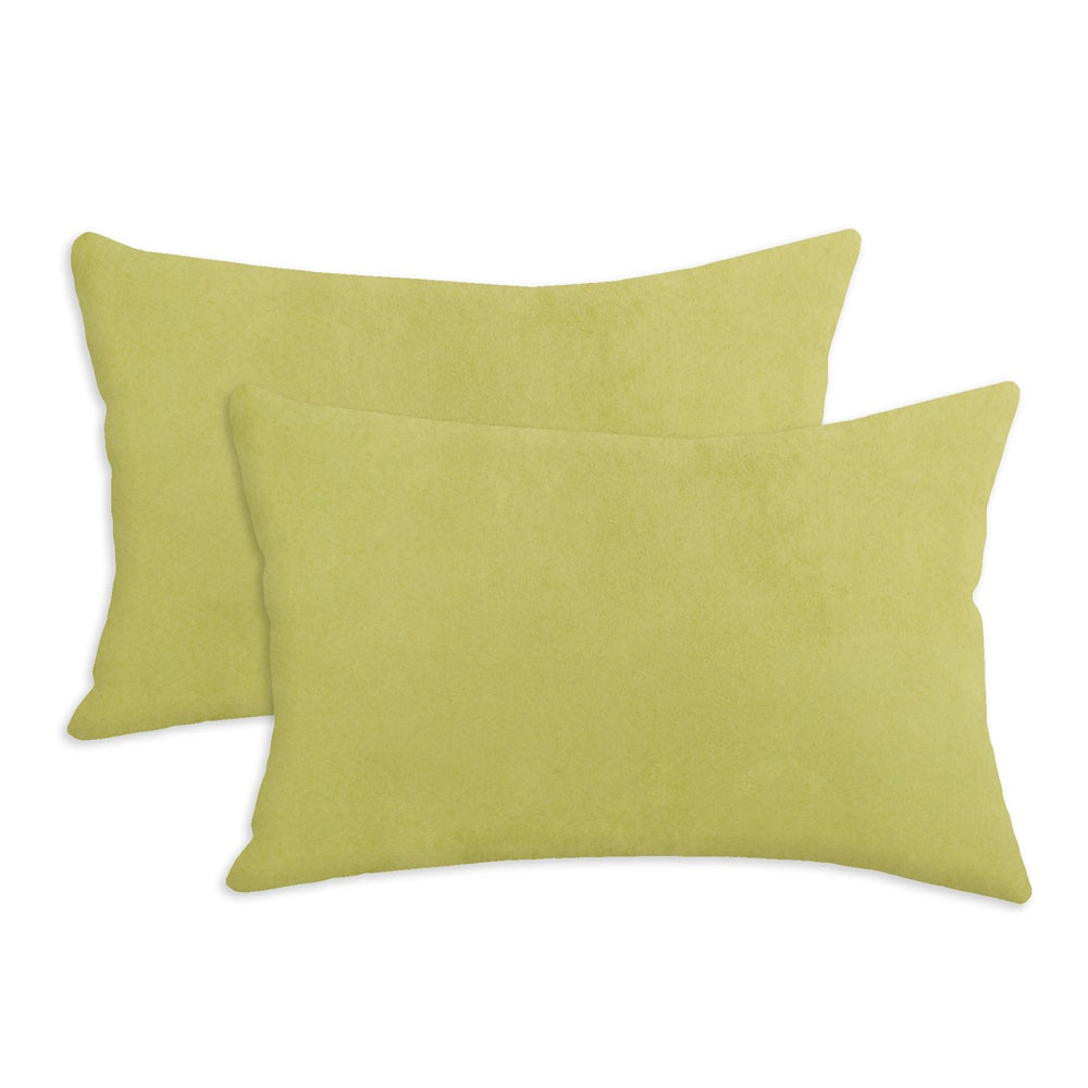Passion Suede Celery Green Simply Soft S-backed 12.5x19 Fiber Pillows (Set of 2)