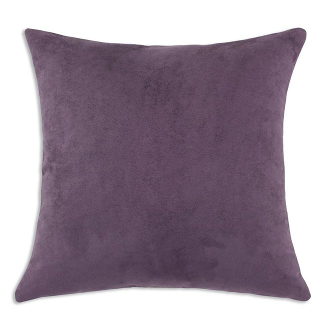 Passion Suede Aubergine Simply Soft S-backed 17x17 Fiber Pillows (Set of 2)