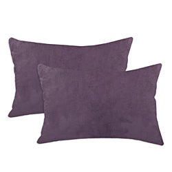 Passion Suede Aubergine Simply Soft S-backed 12.5x19 Fiber Pillows (Set of 2)