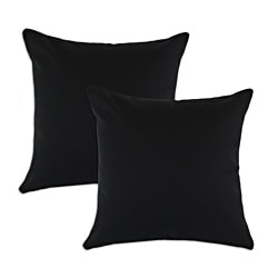 Duck Black S-backed 17x17-inch Fiber Pillows (Set of 2)