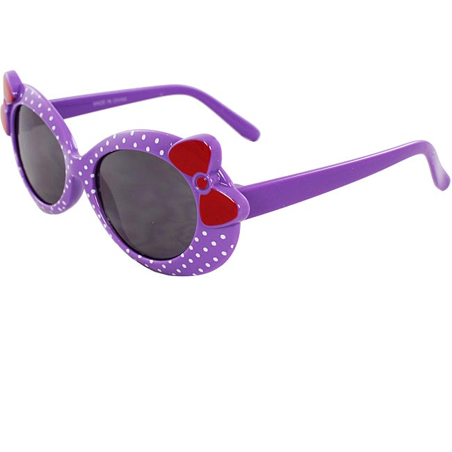 Kid's Oval K0208-PLSM Sunglasses Purple Frame Bow Tie Design - Thumbnail 0