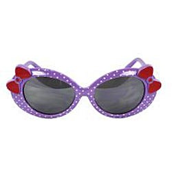 Kid's Oval K0208-PLSM Sunglasses Purple Frame Bow Tie Design - Thumbnail 1