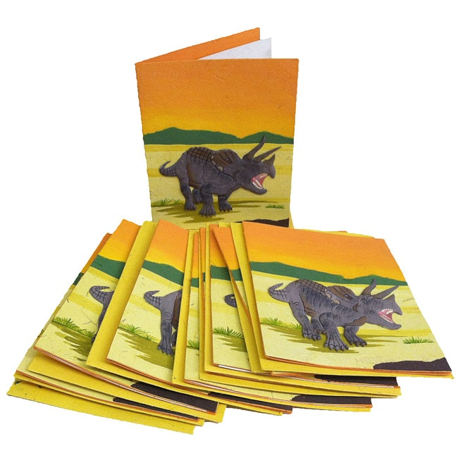 Pack of 10 Recycled Elephant Waste Paper Triceratops Greeting Cards (Sri Lanka)
