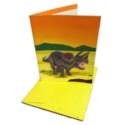 Pack of 10 Recycled Elephant Waste Paper Triceratops Greeting Cards (Sri Lanka) - Thumbnail 1