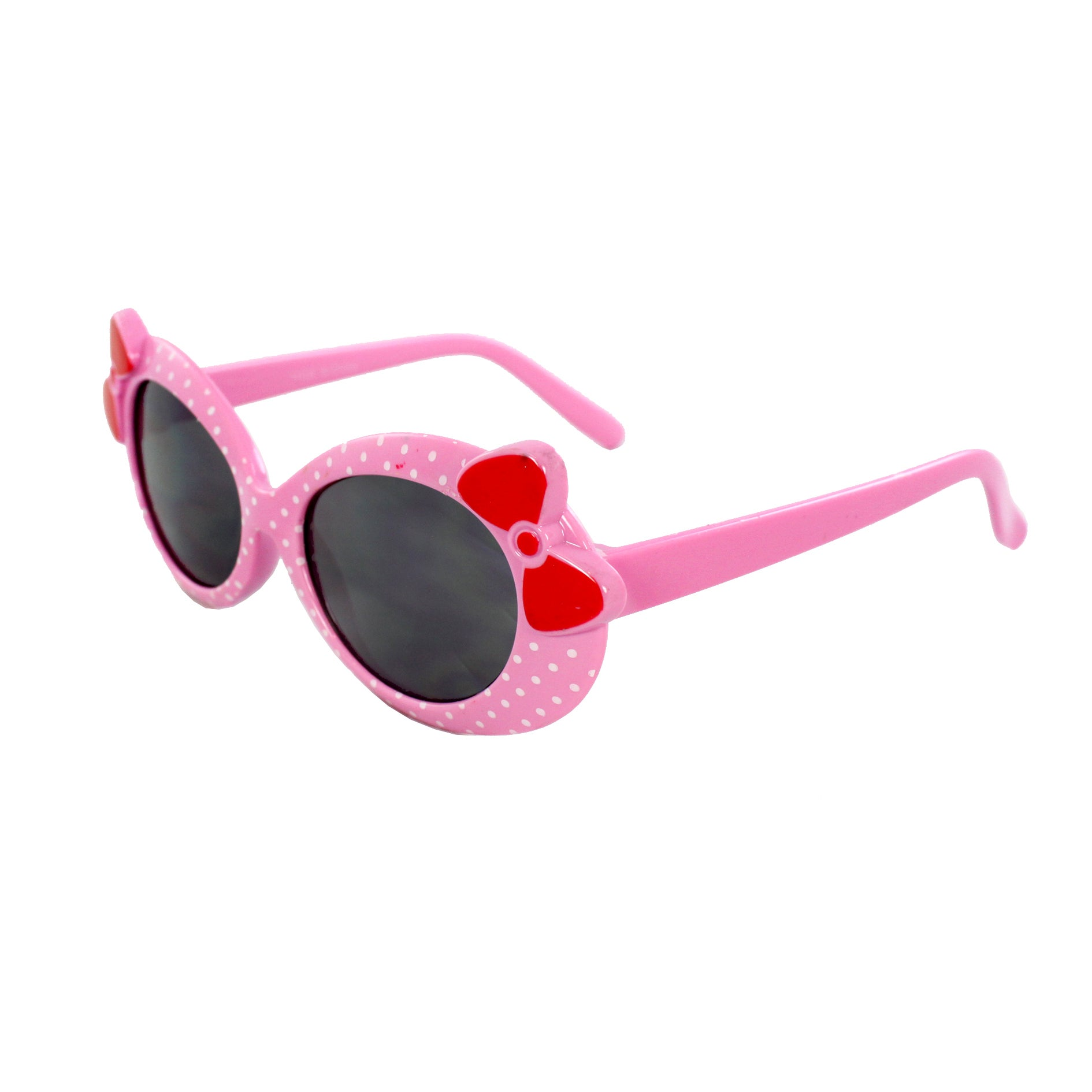 Kid's K0208-PKSM Oval Fashion Pink Frame Polka Dot Sunglasses