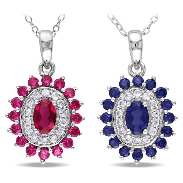 MIadora Sterling Silver Created Ruby or Sapphire Necklace
