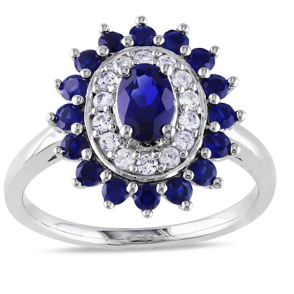 Miadora Sterling Silver Created Ruby or Sapphire Ring