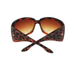 Stylish Wrap Sunglasses Red Leopard Frame Amber Gradient Lenses for Women and Men