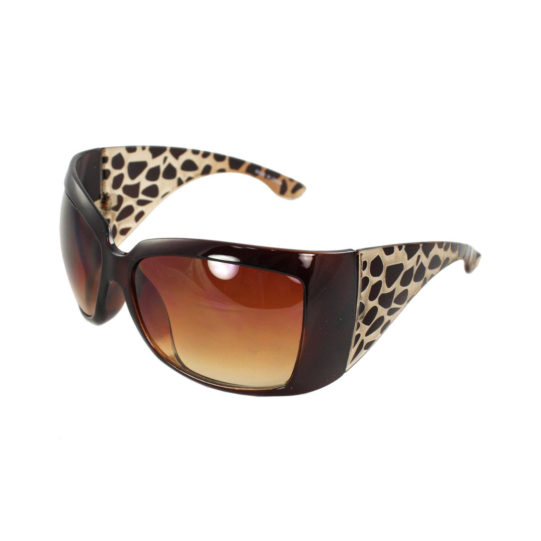 Stylish Wrap Sunglasses Brown Frame Amber Gradient Lenses for Women and Men