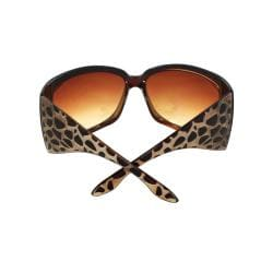 Stylish Wrap Sunglasses Brown Frame Amber Gradient Lenses for Women and Men - Thumbnail 2