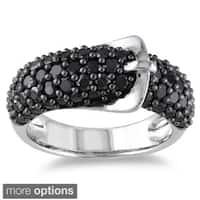 Miadora Sterling Silver Black or White Gemstone Buckle Ring