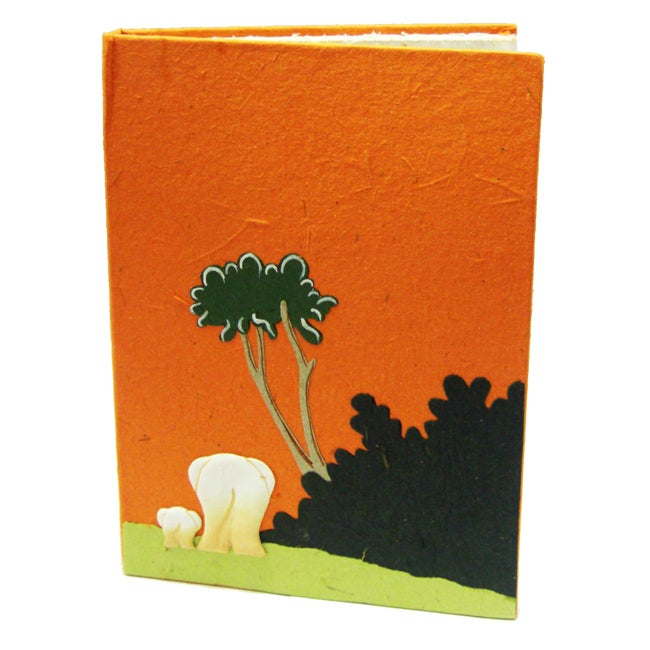 Pachyderm Orange 'Elephant Sunset' Stationery Pouch (Sri Lanka)