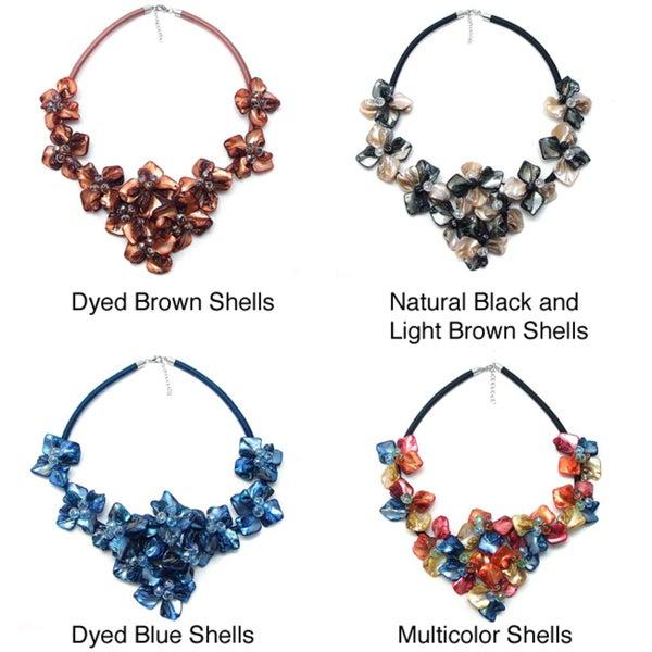 Multicolor Splendor Dyed Shells Black Satin Necklace (Philippines)