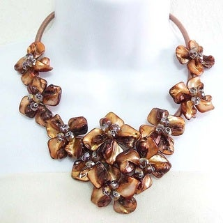 Multicolor Splendor Dyed Shells Black Satin Necklace (Philippines)