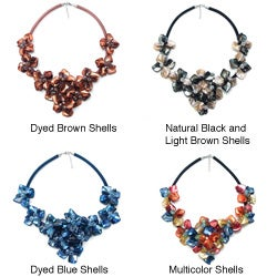 Handmade Multicolor Splendor Dyed Shells Black Satin Necklace (Philippines)