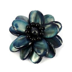 Handmade Superb Gray Lotus Mother of Pearl Floral Pin/ Brooch (Thailand)