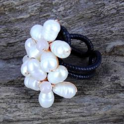 Handmade Floral Royalty Freshwater White Pearl Free Size Ring (Thailand) - Thumbnail 1