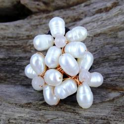 Handmade Floral Royalty Freshwater White Pearl Free Size Ring (Thailand)