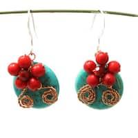 Handmade Sweet Red Daisy Bliss Turquoise Donut Earrings (Thailand) - Blue