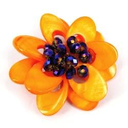 Orange Blossoms Dyed Mother of Pearl Brooch (Thailand) - Thumbnail 1