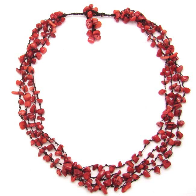 Coral Strand Red Beauty Multistrand Necklace (Thailand)