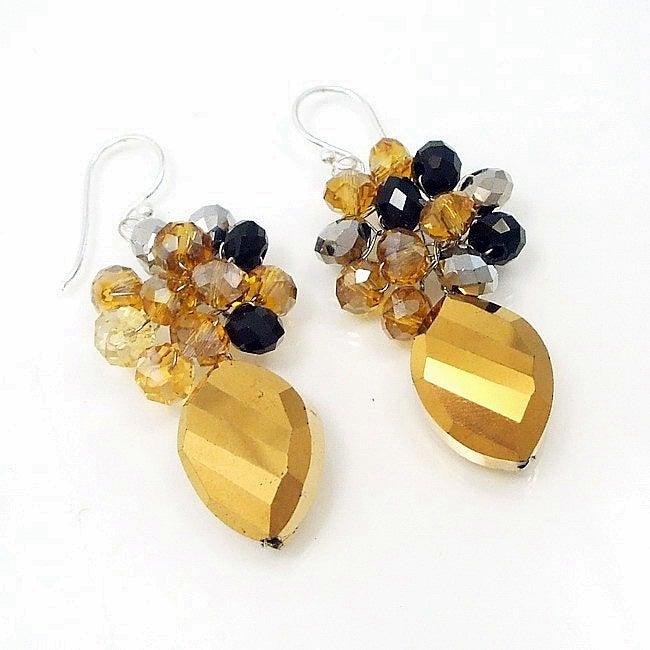 Gold Metallic Teardrop Crystal Crowned Earrings (Thailand)