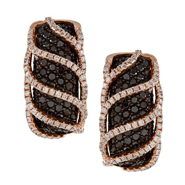 14k Rose and Black Gold 2ct TDW Black Diamond Earrings