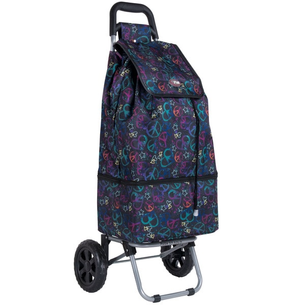 CalPak 'Canal' Black Peace 25-inch Rolling Shopping Tote