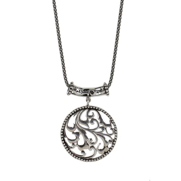Sunstone Sterling Silver Bali Filigree Round Antiqued Necklace
