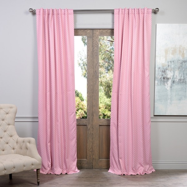 Exclusive Fabrics Pink Polka Dot Blackout Back Tab Pole Pocket Curtain  Panel Pair