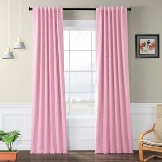 Exclusive Fabrics Pink Polka Dot Blackout Back-tab Pole Pocket Curtain Panel Pair