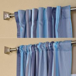 Exclusive Fabrics Poolside Stripe Blackout Back-tab Pole Pocket Curtain Panel