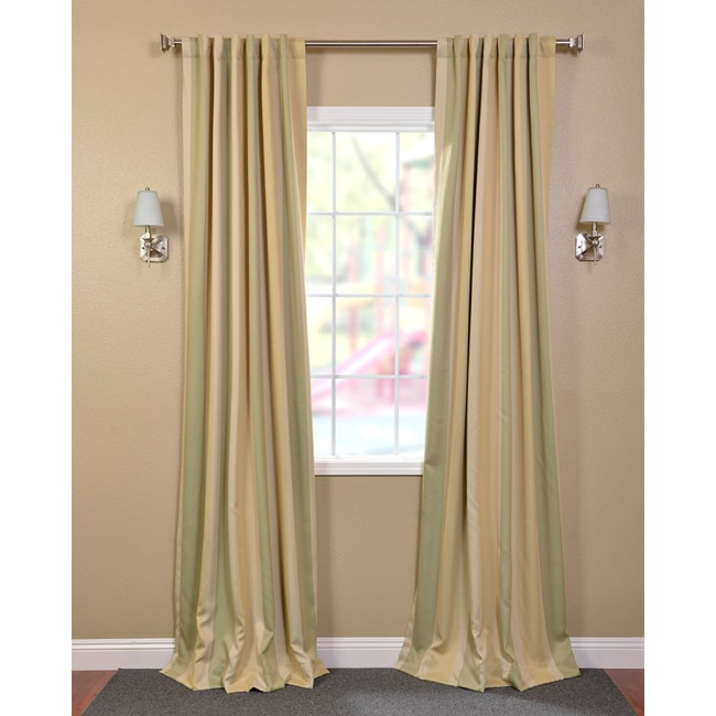 Exclusive Fabrics Pistachio Stripe Blackout Back-tab Pole Pocket Curtain Panel Pair - Thumbnail 0
