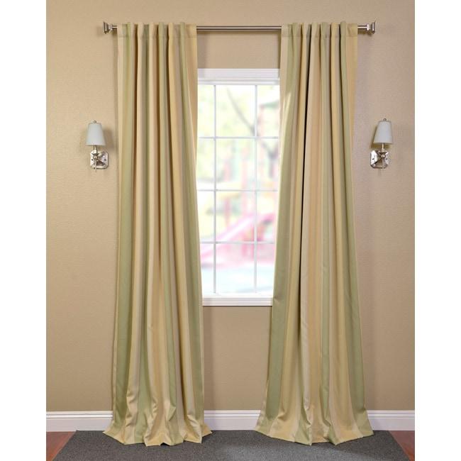 Exclusive Fabrics Pistachio Stripe Blackout Back-tab Pole Pocket Curtain Panel Pair