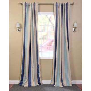 Exclusive Fabrics Marco Polo Stripe Blackout Back-tab Pole Pocket Curtain Panel Pair