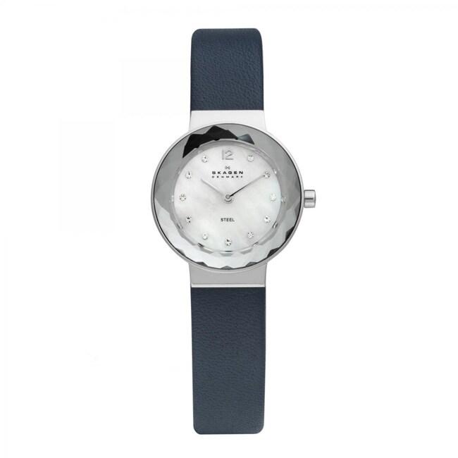 Skagen Women's Blue Leather Strap Watch