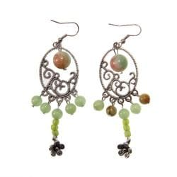 Handmade Miao Silver Jade Earrings (China)