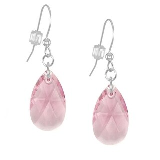 Handmade Jewelry by Dawn Sterling Silver Teardrop Pink Crystal Pear Earrings (USA)